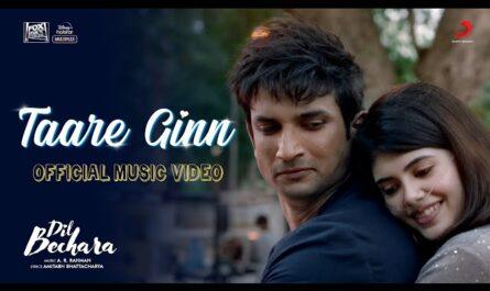 taare gin lyrics dil bechara | Sushant &Sanjana | A.R.Rahman